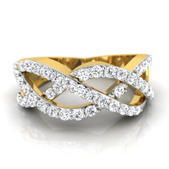 diamond studded gold jewellery - Kirstie Band Ring - Pristine Fire - 2