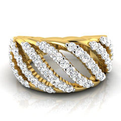 diamond studded gold jewellery - Soledada Band Ring - Pristine Fire - 2