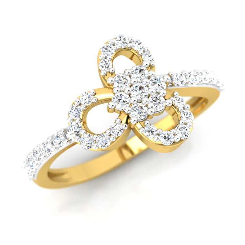 diamond studded gold jewellery - Etain Fashion Ring - Pristine Fire - 1