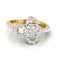 diamond studded gold jewellery - Etain Fashion Ring - Pristine Fire - 2