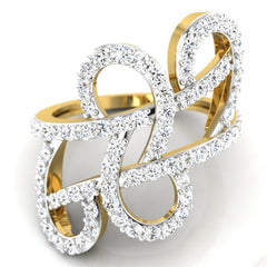 diamond studded gold jewellery - Tarika Fashion Ring - Pristine Fire - 2