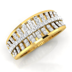 diamond studded gold jewellery - Salina Band Ring - Pristine Fire - 1