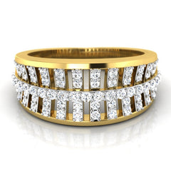 diamond studded gold jewellery - Salina Band Ring - Pristine Fire - 2