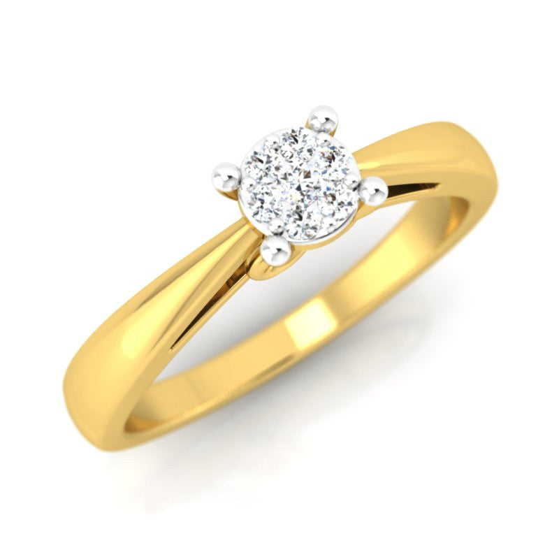 diamond studded gold jewellery - Aaleyah Engagement Ring - Pristine Fire - 1