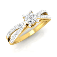 diamond studded gold jewellery - Abertha Engagement Ring - Pristine Fire - 1