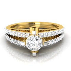 diamond studded gold jewellery - Adelais Engagement Ring - Pristine Fire - 2