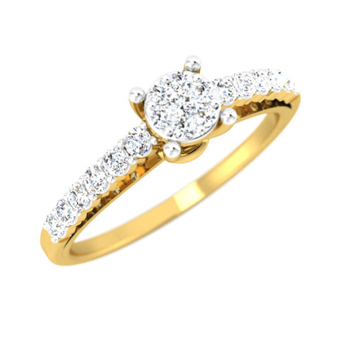 diamond studded gold jewellery - Adeline Engagement Ring - Pristine Fire - 1