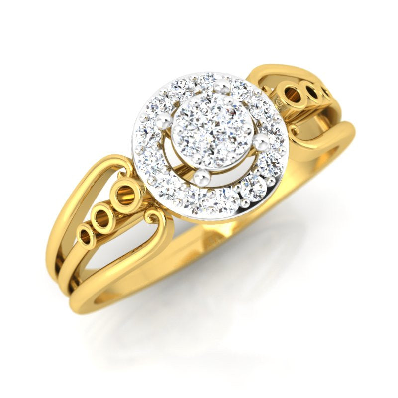 diamond studded gold jewellery - Belicia Engagement Ring - Pristine Fire - 1