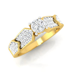 diamond studded gold jewellery - Blossom Engagement Ring - Pristine Fire - 1