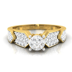 diamond studded gold jewellery - Blossom Engagement Ring - Pristine Fire - 2
