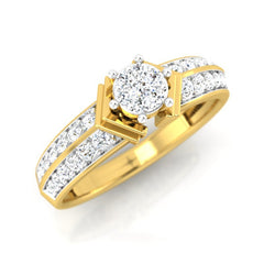 diamond studded gold jewellery - Breyona Engagement Ring - Pristine Fire - 1