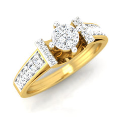 diamond studded gold jewellery - Chelsey Engagement Ring - Pristine Fire - 1
