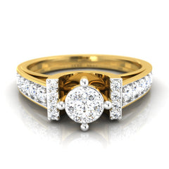 diamond studded gold jewellery - Chelsey Engagement Ring - Pristine Fire - 2