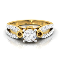 diamond studded gold jewellery - Cherish Engagement Ring - Pristine Fire - 2