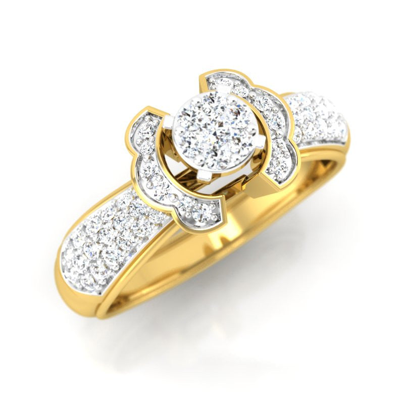 diamond studded gold jewellery - Clarisa Engagement Ring - Pristine Fire - 1