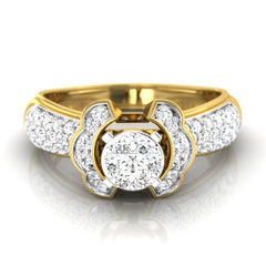 diamond studded gold jewellery - Clarisa Engagement Ring - Pristine Fire - 2