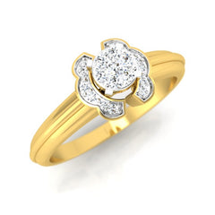 diamond studded gold jewellery - Claudel Engagement Ring - Pristine Fire - 1