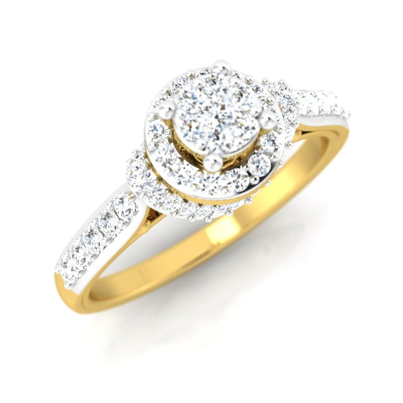 diamond studded gold jewellery - Damiana Engagement Ring - Pristine Fire - 1