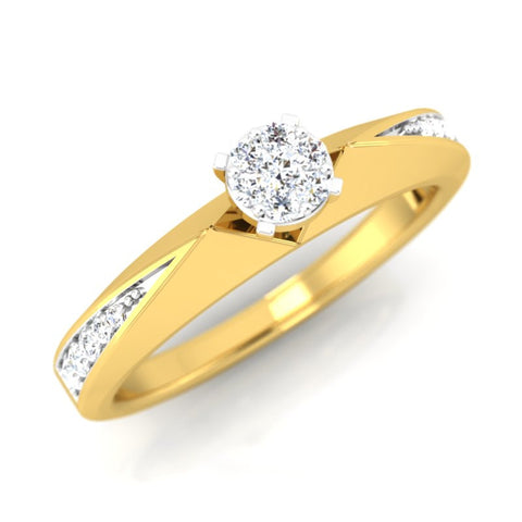diamond studded gold jewellery - Delanie Engagement Ring - Pristine Fire - 1