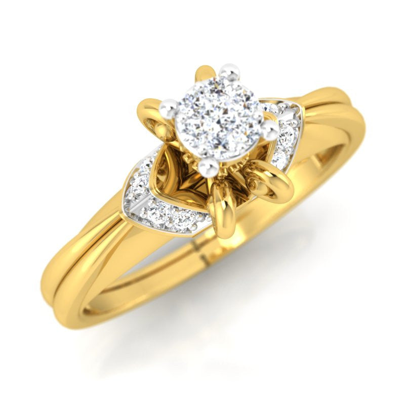 diamond studded gold jewellery - Donvina Engagement Ring - Pristine Fire - 1
