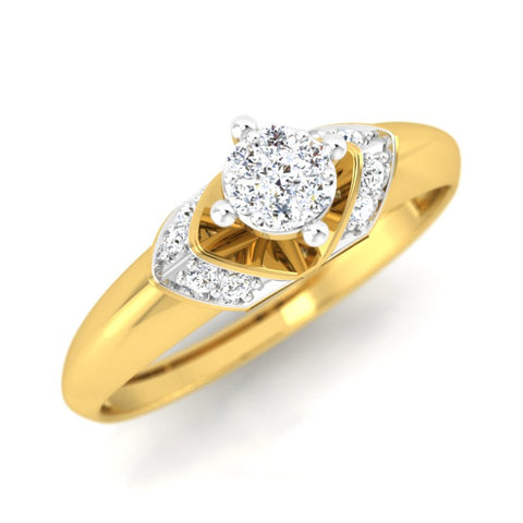 diamond studded gold jewellery - Dynasty Engagement Ring - Pristine Fire - 1
