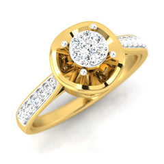 diamond studded gold jewellery - Elfrida Engagement Ring - Pristine Fire - 1