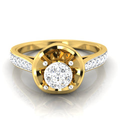 diamond studded gold jewellery - Elfrida Engagement Ring - Pristine Fire - 2