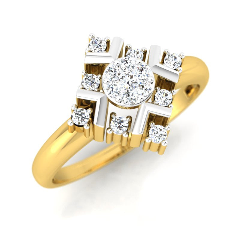 diamond studded gold jewellery - Jacinta Engagement Ring - Pristine Fire - 1