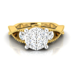 diamond studded gold jewellery - Jordane Engagement Ring - Pristine Fire - 2