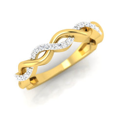 diamond studded gold jewellery - Caressa Band Ring - Pristine Fire - 1