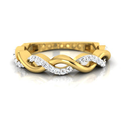 diamond studded gold jewellery - Caressa Band Ring - Pristine Fire - 2