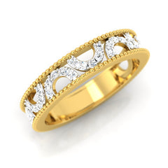 diamond studded gold jewellery - Chiara Band Ring - Pristine Fire - 1
