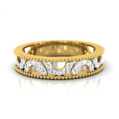 diamond studded gold jewellery - Chiara Band Ring - Pristine Fire - 2