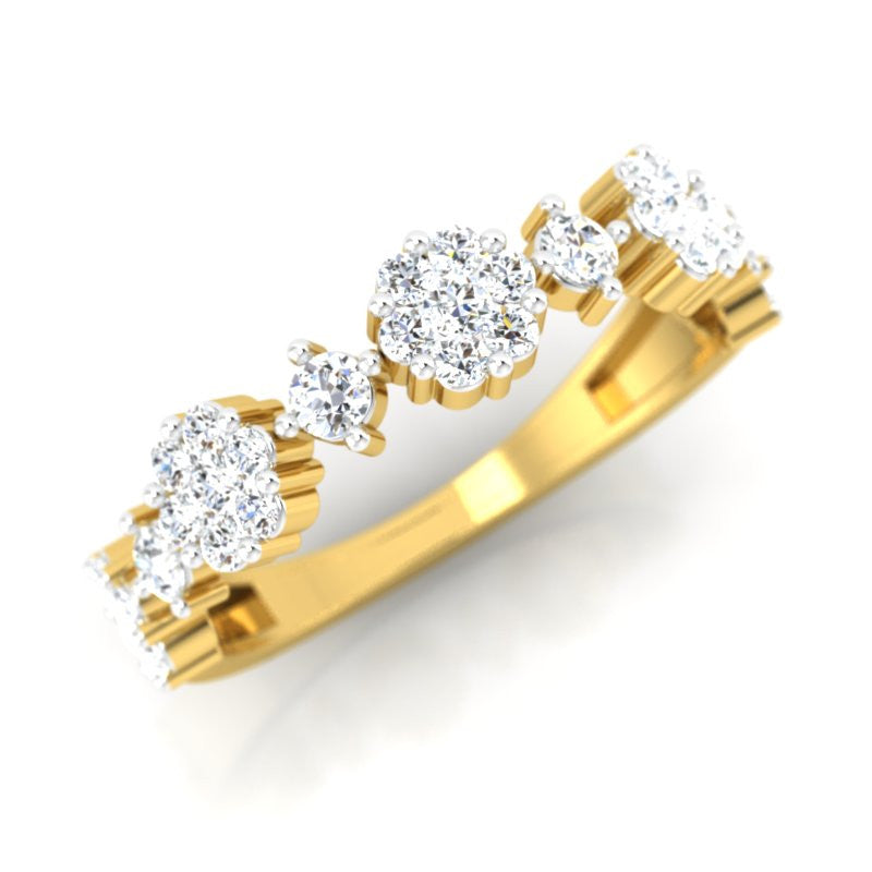 diamond studded gold jewellery - Consuela Band Ring - Pristine Fire - 1