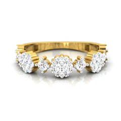 diamond studded gold jewellery - Consuela Band Ring - Pristine Fire - 2