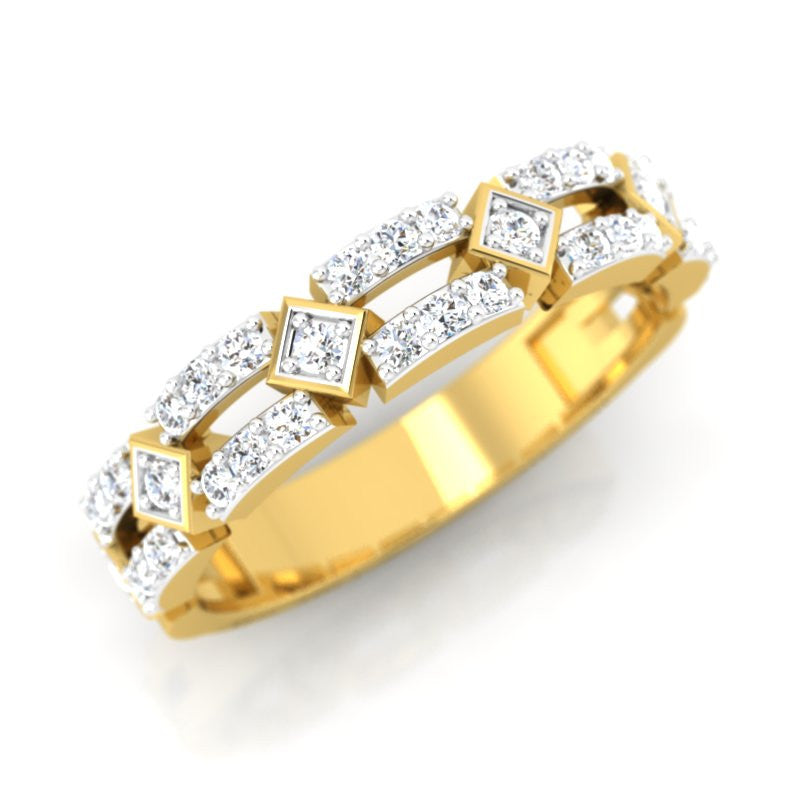 diamond studded gold jewellery - Diamonique Band Ring - Pristine Fire - 1