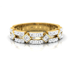diamond studded gold jewellery - Diamonique Band Ring - Pristine Fire - 2