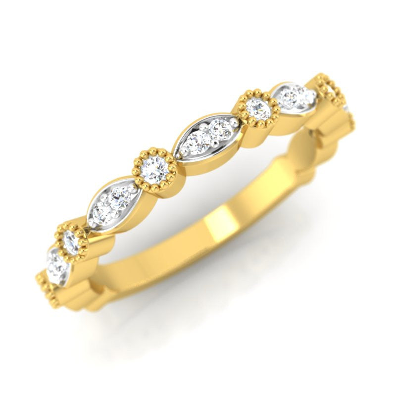diamond studded gold jewellery - Dita Band Ring - Pristine Fire - 1