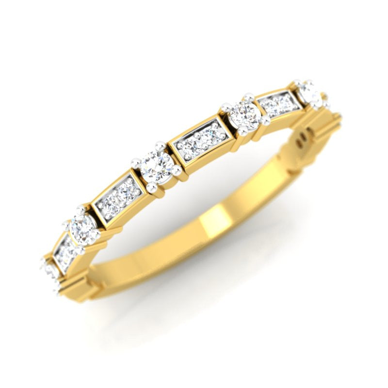 diamond studded gold jewellery - Elqenna Band Ring - Pristine Fire - 1