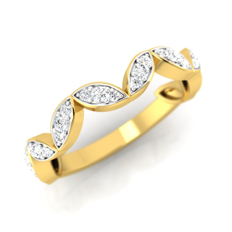 diamond studded gold jewellery - Femi Band Ring - Pristine Fire - 1