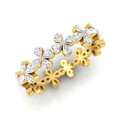 diamond studded gold jewellery - Giulia Band Ring - Pristine Fire - 1