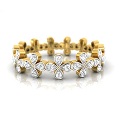 diamond studded gold jewellery - Giulia Band Ring - Pristine Fire - 2