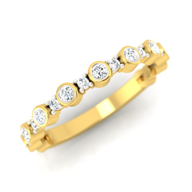 diamond studded gold jewellery - Kady Band Ring - Pristine Fire - 1
