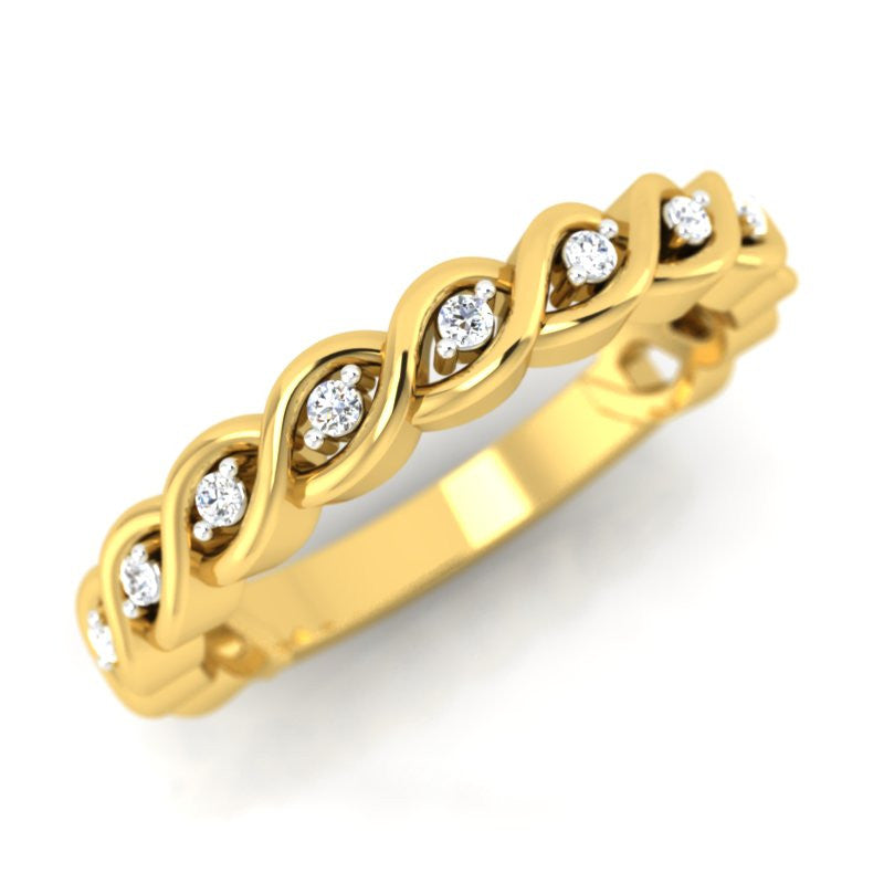diamond studded gold jewellery - Naida Band Ring - Pristine Fire - 1