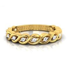 diamond studded gold jewellery - Naida Band Ring - Pristine Fire - 2