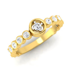 diamond studded gold jewellery - Rosalba Band Ring - Pristine Fire - 1