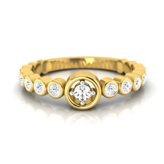 diamond studded gold jewellery - Rosalba Band Ring - Pristine Fire - 2