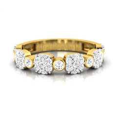 diamond studded gold jewellery - Serilda Band Ring - Pristine Fire - 2