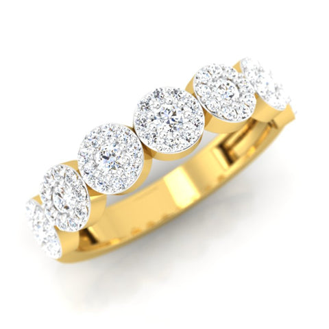 diamond studded gold jewellery - Shilin Band Ring - Pristine Fire - 1