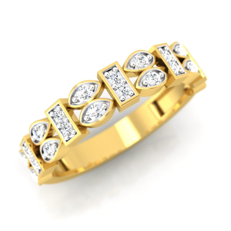 diamond studded gold jewellery - Siona Band Ring - Pristine Fire - 1